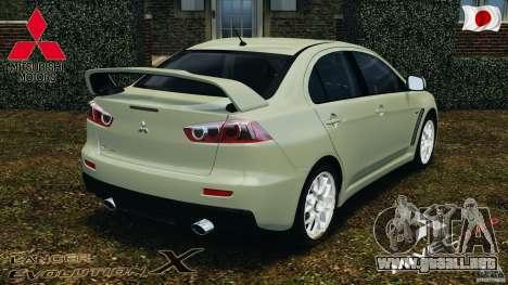 Mitsubishi Lancer Evolution X 2007 para GTA 4 Vista posterior izquierda