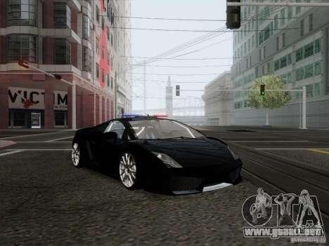 Lamborghini Gallardo LP-560 Police para GTA San Andreas vista posterior izquierda