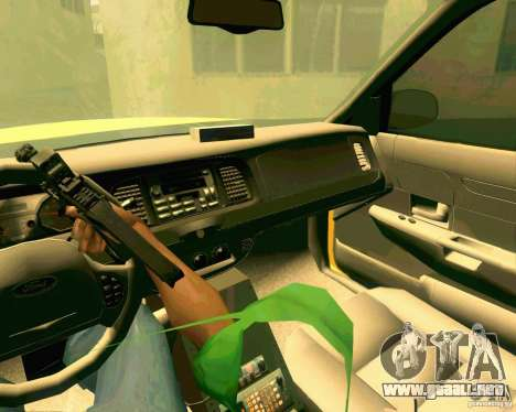 Ford Crown Victoria 2003 NYC TAXI para visión interna GTA San Andreas