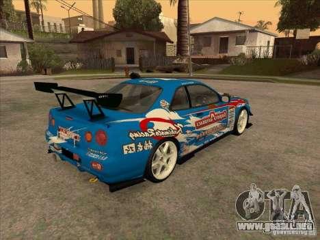 Nissan Skyline GT-R R34 Super Autobacs para la visión correcta GTA San Andreas
