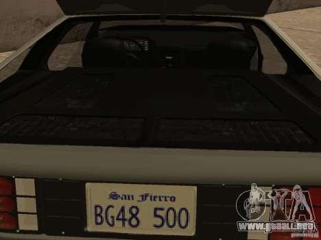 DeLorean DMC-12 para la vista superior GTA San Andreas