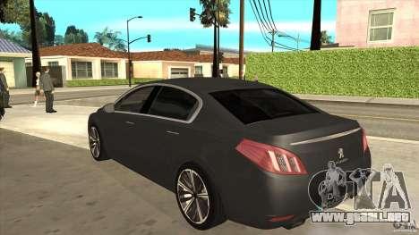 Peugeot 508 2011 EU plates para GTA San Andreas vista posterior izquierda
