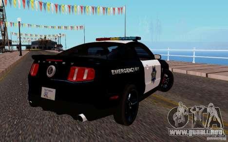 Ford Shelby Mustang GT500 Civilians Cop Cars para la visión correcta GTA San Andreas