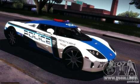 Koenigsegg CCX Police para vista lateral GTA San Andreas