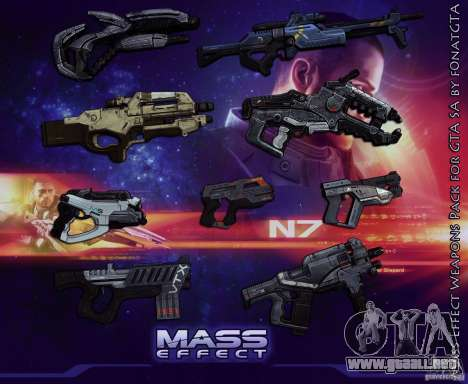 Mass Effect Weapons Pack para GTA San Andreas