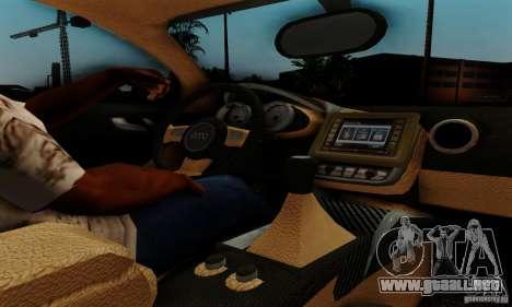 Audi R8 LeMans para GTA San Andreas vista hacia atrás