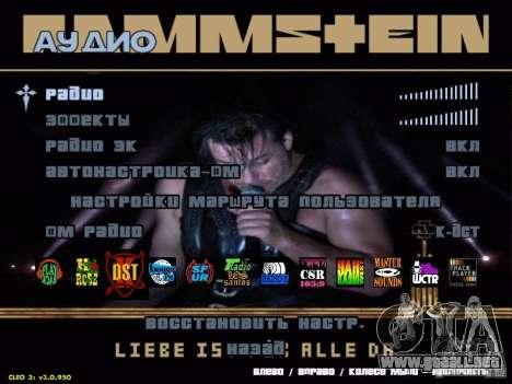 Menú de Rammstein para GTA San Andreas segunda pantalla