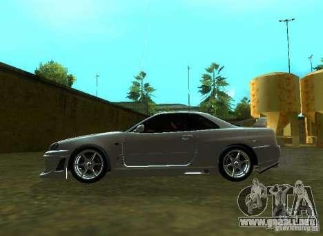 Nissan Skyline GTR-34 para GTA San Andreas vista hacia atrás