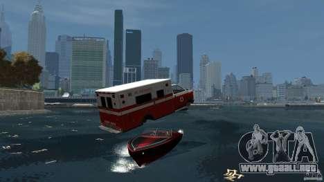 Ambulance boat para GTA 4 vista hacia atrás