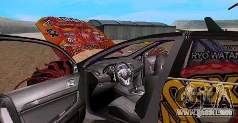 Mitsubishi Lancer Evolution RYO Vatanabe para la visión correcta GTA San Andreas