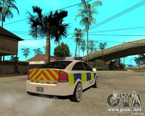 2005 Opel Vectra Police para GTA San Andreas vista posterior izquierda