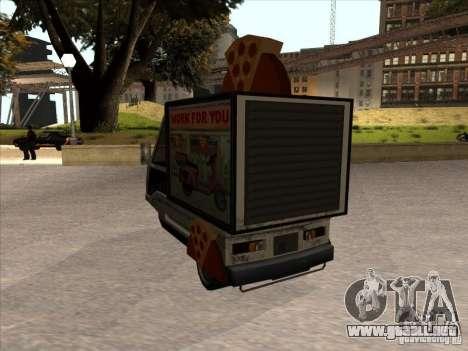 Sweeper Pizza Boy para GTA San Andreas vista posterior izquierda