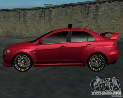 Mitsubishi Lancer Evolution X MR1 v2.0 para GTA San Andreas left