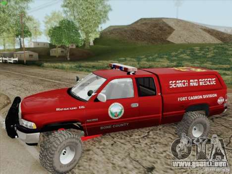 Dodge Ram 3500 Search & Rescue para vista inferior GTA San Andreas