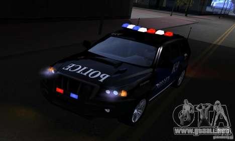 NFS Undercover Police SUV para GTA San Andreas vista hacia atrás