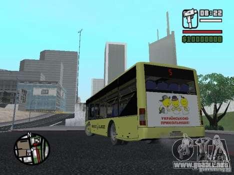 LAZ presentada (SitiLAZ 10) para GTA San Andreas vista posterior izquierda