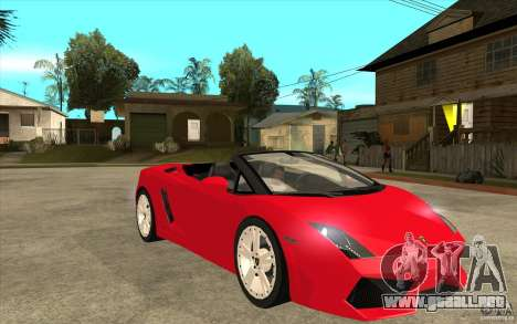 Lamborghini Gallardo LP560 Spider para GTA San Andreas vista hacia atrás