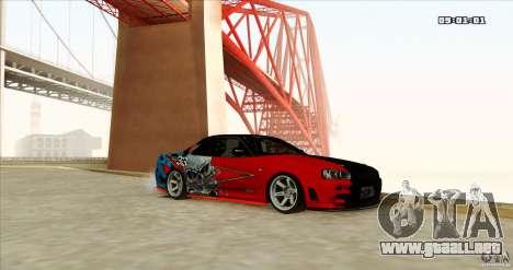 Nissan Skyline R34 Evil Empire para la visión correcta GTA San Andreas