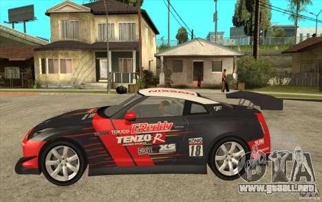 Nissan GT R Shift 2 Edition para GTA San Andreas vista posterior izquierda