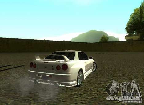 Nissan Skyline GTR-34 para la vista superior GTA San Andreas