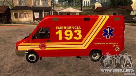 Iveco Daily UR Bombeiros SP para GTA San Andreas left