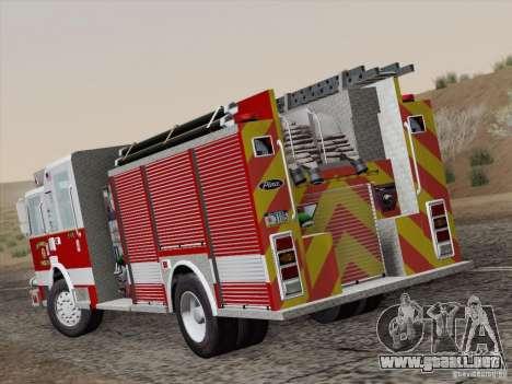 Pierce Pumpers. San Francisco Fire Departament para GTA San Andreas vista posterior izquierda