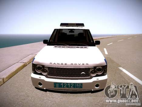 Range Rover Supercharged 2008 policía Departamen para GTA San Andreas vista hacia atrás