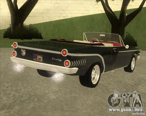 1962 Dodge Dart 440 para GTA San Andreas vista posterior izquierda