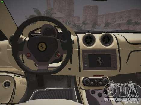 Ferrari California para GTA San Andreas vista hacia atrás