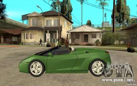 Lamborghini Gallardo Spyder para GTA San Andreas left