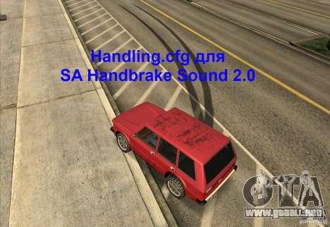 Handling.cfg SA Handbrake sonido 2.0 para GTA San Andreas