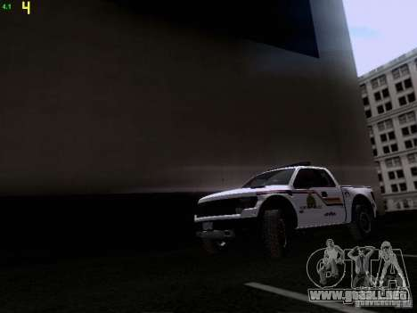 Ford Raptor Royal Canadian Mountain Police para GTA San Andreas left