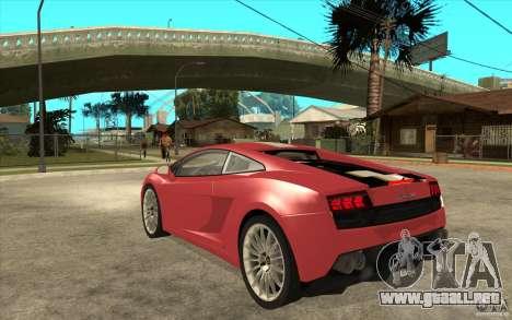 Lamborghini Gallardo LP550 Valentino Balboni para GTA San Andreas vista posterior izquierda