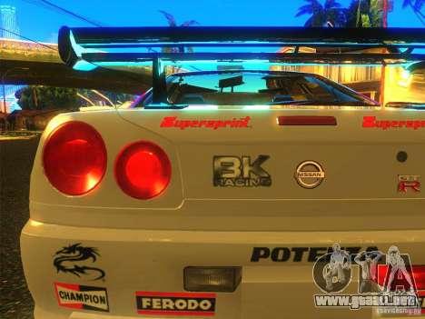 Nissan Skyline R34 Nismo para GTA San Andreas vista posterior izquierda