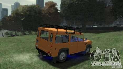Land Rover Defender Station Wagon 110 para GTA 4 Vista posterior izquierda