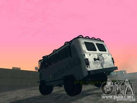 2206 UAZ para GTA San Andreas vista hacia atrás