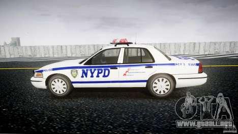 Ford Crown Victoria Police Department 2008 NYPD para GTA 4 vista hacia atrás