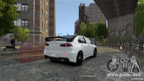 Mitsubishi Lancer Evo X para GTA 4 vista superior