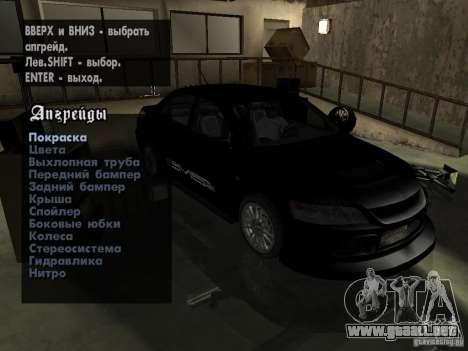 Mitsubishi Lancer Evo IX MR Edition para visión interna GTA San Andreas