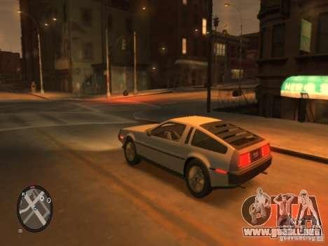 De Lorean DMC 12 para GTA 4 vista hacia atrás