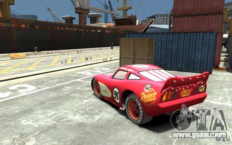 Lighting McQueen para GTA 4 Vista posterior izquierda