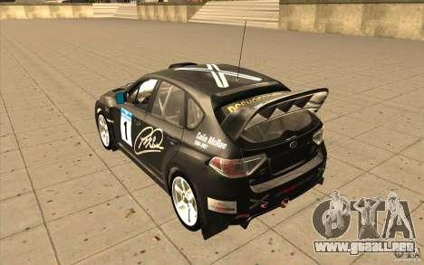 Subaru Impreza WRX STi con el único nuevo vinilo para GTA San Andreas vista posterior izquierda