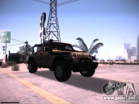 Jeep Wrangler Rubicon Unlimited 2012 para GTA San Andreas vista hacia atrás