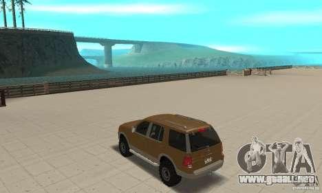 Ford Explorer 2002 para GTA San Andreas vista posterior izquierda