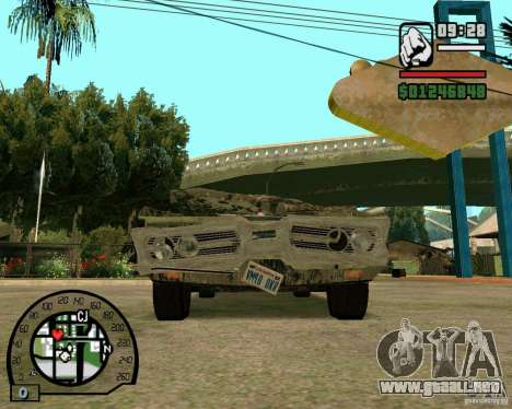 Plymouth Fury III para GTA San Andreas vista hacia atrás