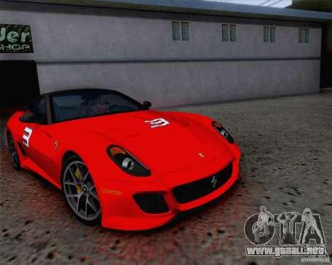 Ferrari 599 GTO 2011 v2.0 para vista inferior GTA San Andreas