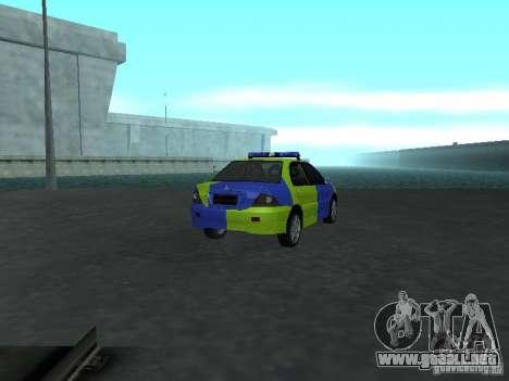 Policía de Mitsubishi Lancer para GTA San Andreas vista posterior izquierda