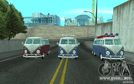 Volkswagen Transporter T1 SAMBAQ CAMPERVAN para GTA San Andreas vista hacia atrás