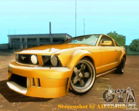 Ford Mustang GT 2005 Tunable para GTA San Andreas vista posterior izquierda