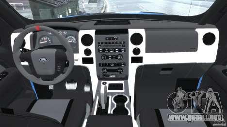 Ford F150 Racing Raptor XT 2011 para GTA 4 visión correcta